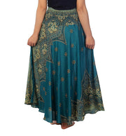 Teal Peacock Flower Long Maxi Skirt-Rayon Skirt-Lannaclothesdesign Shop