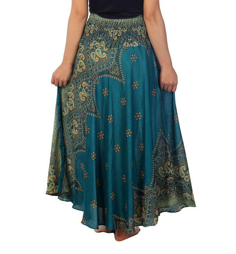 Teal Peacock Flower Long Maxi Skirt-Rayon Skirt-Lannaclothesdesign Shop-Lannaclothesdesign Shop