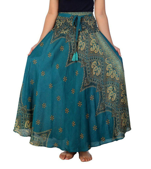 "Teal Peacock Flower Long Maxi Skirt-Rayon Skirt-Lannaclothesdesign Shop-Length 37"" S/M SIZE-Lannaclothesdesign Shop"