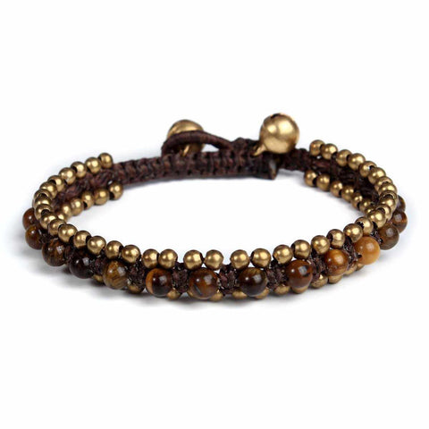 Tiger Eye Beads and Brass Bells Boho Bracelet-Bracelet-Lannaclothesdesign Shop