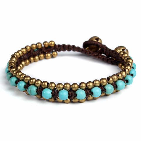 Turquoise Quartz Beads and Brass Bells Boho Bracelet-Bracelet-Lannaclothesdesign Shop-Lannaclothesdesign Shop