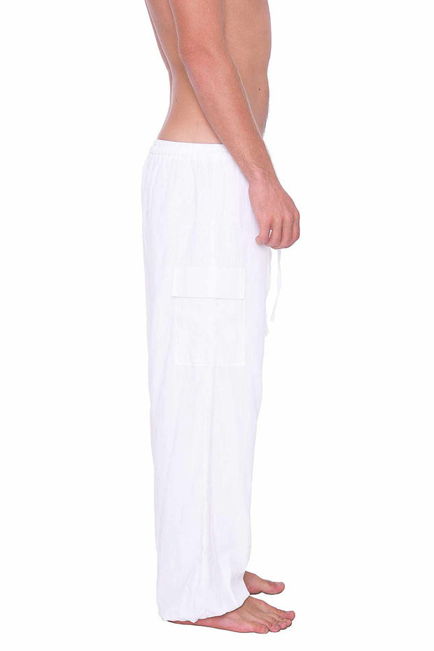 White Cotton Pants w/ Elastic Ankles-Men Pants-Lannaclothesdesign Shop-Lannaclothesdesign Shop