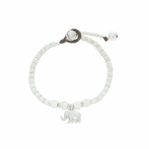 White How Lite Beads and Silver Bells Bracelet-Bracelet-Lannaclothesdesign Shop