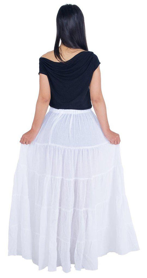 White Long Cotton Ruffle Maxi Skirt-Cotton Skirt-Lannaclothesdesign Shop-Lannaclothesdesign Shop