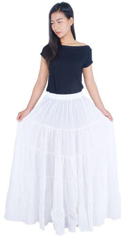 White Long Cotton Ruffle Maxi Skirt-Cotton Skirt-Lannaclothesdesign Shop-Length 37 Inches-Lannaclothesdesign Shop