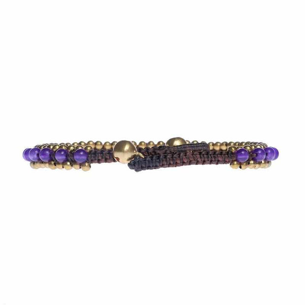 Womens Amethyst Fashion Anklet Beaded Quartz and Brass Handmade Thai Jewelry-Anklet-Lannaclothesdesign Shop