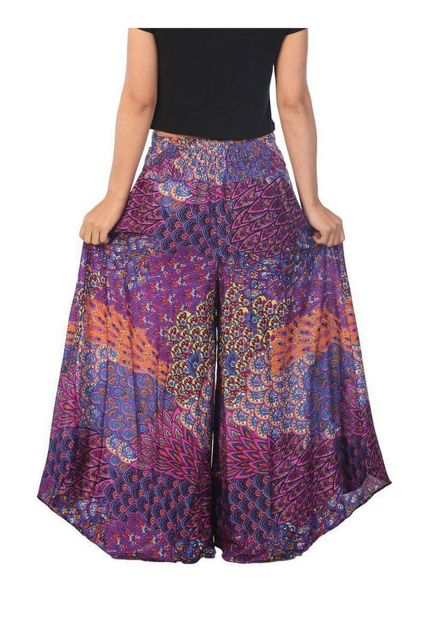Womens Colorful Peacock Palazzo Pants-Palazzo-Lannaclothesdesign Shop