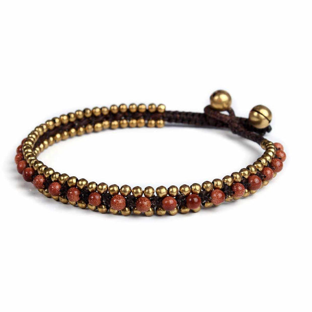 Womens Golden Burgundy Fashion Anklet Beaded Quartz and Brass Handmade Thai Jewelry-Anklet-Lannaclothesdesign Shop-Lannaclothesdesign Shop