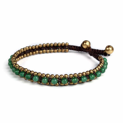 Womens Green Fashion Anklet Beaded Quartz and Brass Handmade Thai Jewelry-Anklet-Lannaclothesdesign Shop-Lannaclothesdesign Shop