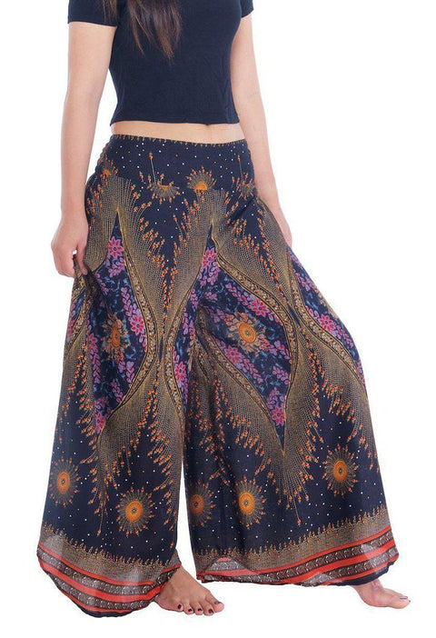 Womens Lounge Palazzo Pants Flower Eye-Palazzo-Lannaclothesdesign Shop