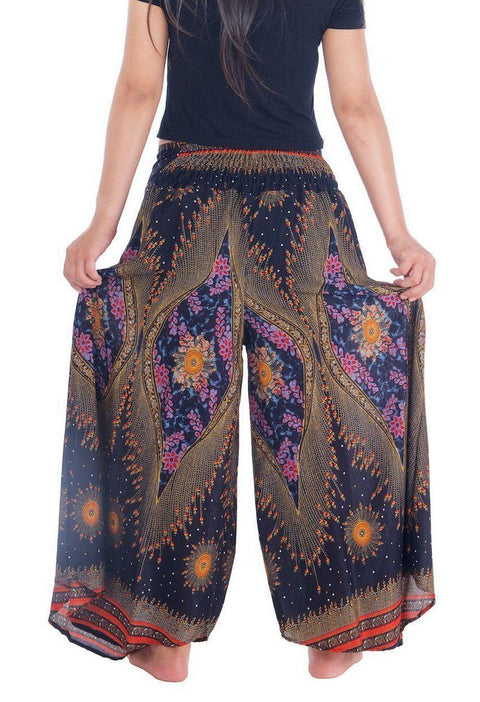 Womens Lounge Palazzo Pants Flower Eye-Palazzo-Lannaclothesdesign Shop-Lannaclothesdesign Shop