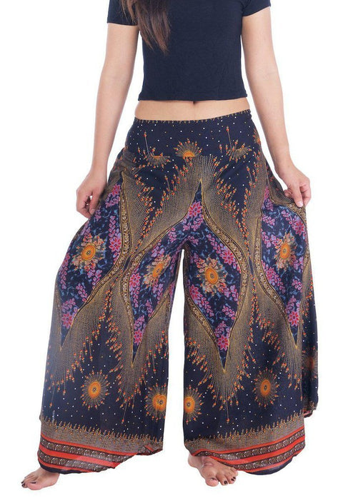 "Womens Lounge Palazzo Pants Flower Eye-Palazzo-Lannaclothesdesign Shop-Small-Black-Length 37""-Lannaclothesdesign Shop"