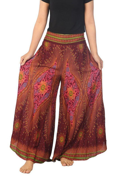"Womens Lounge Palazzo Pants Flower Eye-Palazzo-Lannaclothesdesign Shop-Small-Burgundy-Length 37""-Lannaclothesdesign Shop"