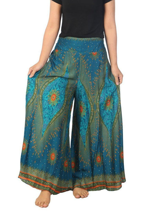 "Womens Lounge Palazzo Pants Flower Eye-Palazzo-Lannaclothesdesign Shop-Small-Teal-Length 37""-Lannaclothesdesign Shop"