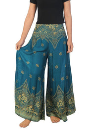 Womens Peacock Flower Palazzo Pants-Palazzo-Lannaclothesdesign Shop