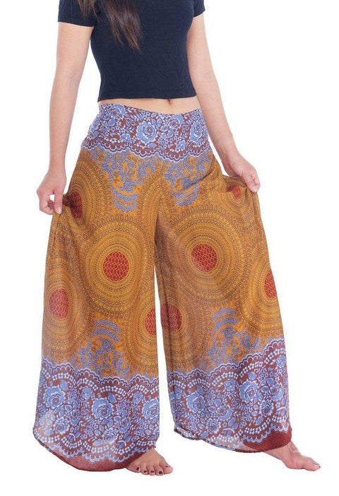 Womens Rose Design Wide Leg Palazzo Pants-Palazzo-Lannaclothesdesign Shop-Lannaclothesdesign Shop