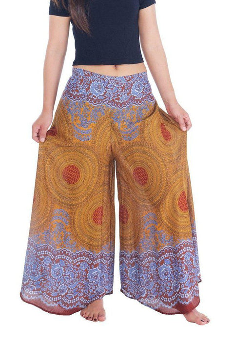 "Womens Rose Design Wide Leg Palazzo Pants-Palazzo-Lannaclothesdesign Shop-Small-Brown-Length 37""-Lannaclothesdesign Shop"