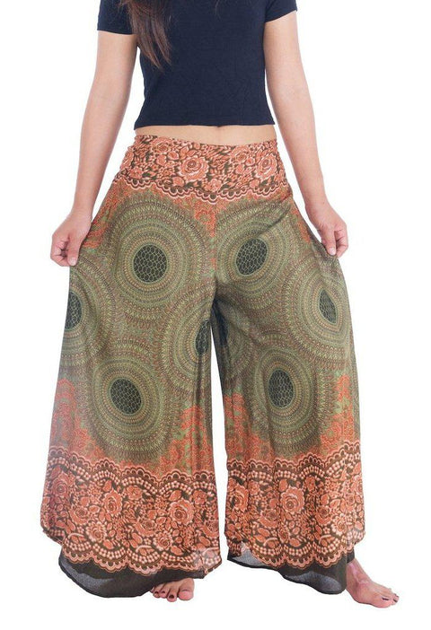 "Womens Rose Design Wide Leg Palazzo Pants-Palazzo-Lannaclothesdesign Shop-Small-Green-Length 37""-Lannaclothesdesign Shop"