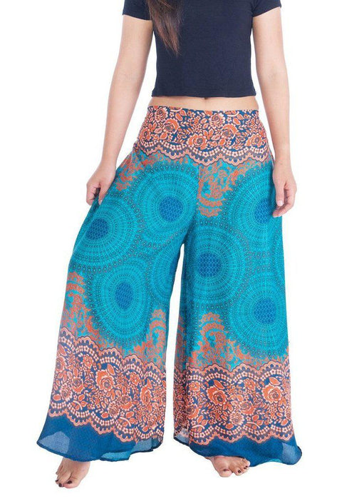 "Womens Rose Design Wide Leg Palazzo Pants-Palazzo-Lannaclothesdesign Shop-Small-Teal-Length 37""-Lannaclothesdesign Shop"