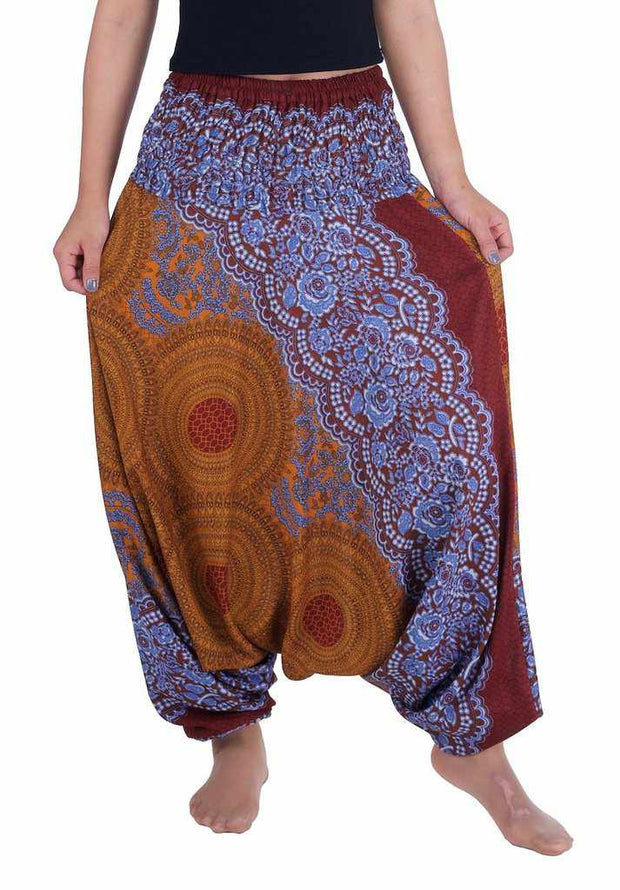 Yoga Harem Pants-Harem Jumpsuit-Lannaclothesdesign Shop-Small-Medium-Brown-Lannaclothesdesign Shop