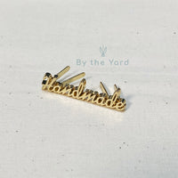"Metal Bag Label Script Style ""Handmade"" in Gold (Small)"