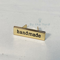 "Metal Bag Label ""handmade"" in Gold"