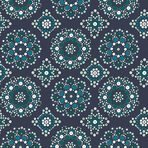 Art Gallery Fabrics Loved to Pieces Mandala Drops Midnight