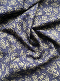 Foliage Miracle Wave Cotton Shrink Lawn - Navy