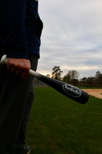 "Black Baseball Softball 18"" One Hand Training Bat in Hand"