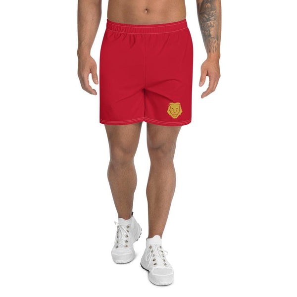 Men's Athletic Long Shorts - Red - Francium Co.