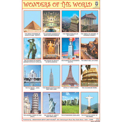 WONDERS OF THE WORLD CHART SIZE 12X18 (INCHS) 300GSM ARTCARD