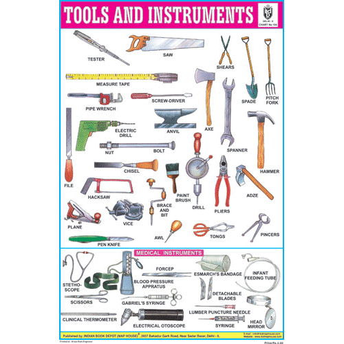 TOOLS & INSTRUMENTS SIZE 24 X 36 CMS CHART NO. 104 - Indian Book Depot (Map House)