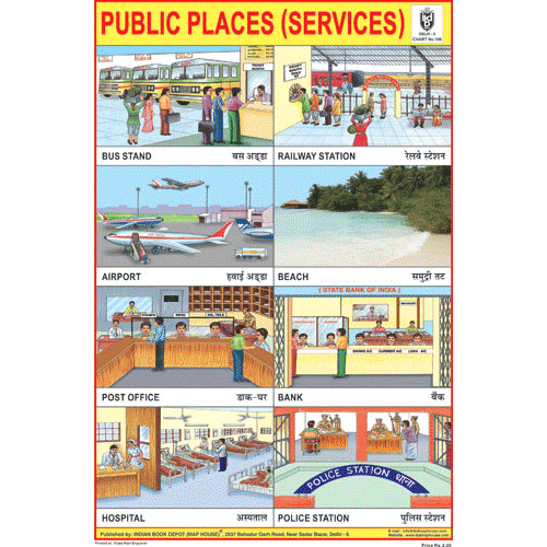 PUBLIC PLACES (SERVICES) SIZE 24 X 36 CMS CHART NO. 106 - Indian Book Depot (Map House)