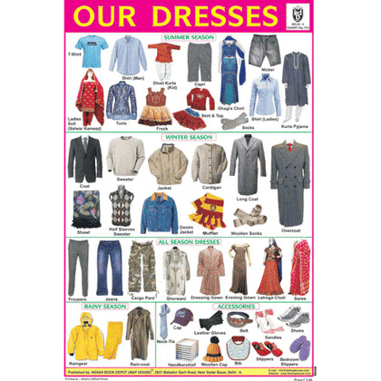 OUR DRESSES SIZE 24 X 36 CMS CHART NO. 113 - Indian Book Depot (Map House)