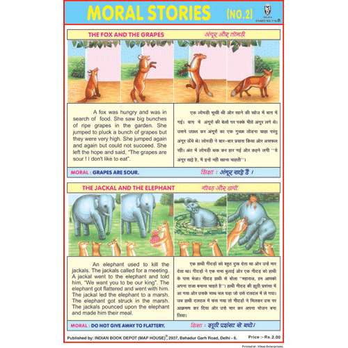MORAL STORIES CHART NO.2 B CHART SIZE 12X18 (INCHS) 300GSM ARTCARD - Indian Book Depot (Map House)