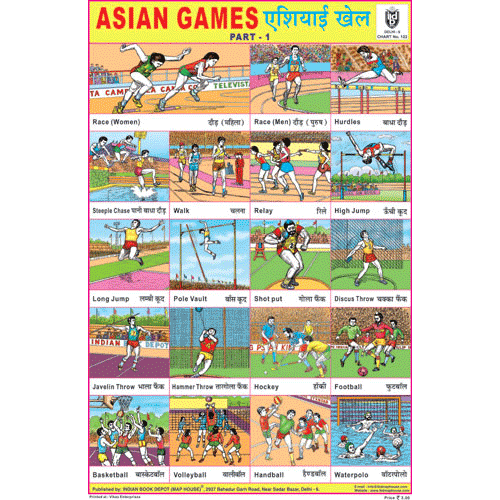 ASIAN GAMES PART I SIZE 24 X 36 CMS CHART NO. 122 - Indian Book Depot (Map House)