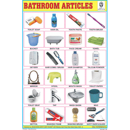 BATHROOM ARTICLES SIZE 24 X 36 CMS CHART NO. 128 - Indian Book Depot (Map House)