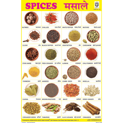SPICES CHART SIZE 24 X 36 CMS CHART NO. 130 - Indian Book Depot (Map House)