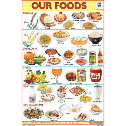 OUR FOODS SIZE 24 X 36 CMS CHART NO. 143 - Indian Book Depot (Map House)