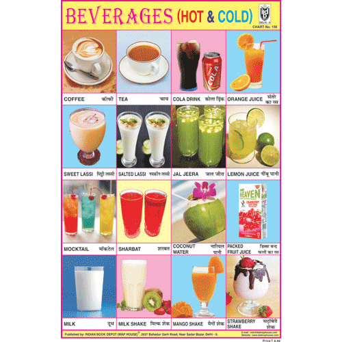 BEVERAGES (HOT & COLD) CHART SIZE 12X18 (INCHS) 300GSM ARTCARD - Indian Book Depot (Map House)