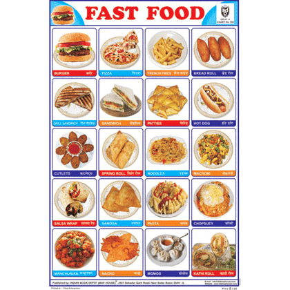 FAST FOOD SIZE 24 X 36 CMS CHART NO. 159 - Indian Book Depot (Map House)