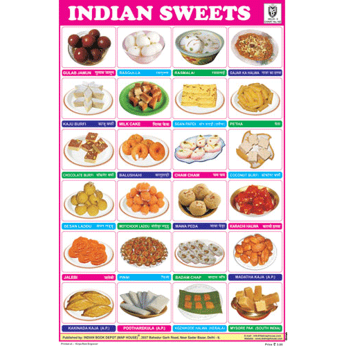 INDIAN SWEETS CHART SIZE 12X18 (INCHS) 300GSM ARTCARD - Indian Book Depot (Map House)