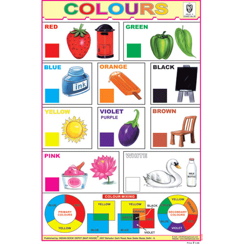 COLOURS CHART CHART SIZE 12X18 (INCHS) 300GSM ARTCARD - Indian Book Depot (Map House)