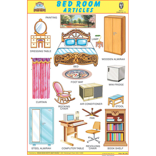 BED ROOM ARTICLES CHART SIZE 12X18 (INCHS) 300GSM ARTCARD - Indian Book Depot (Map House)