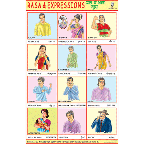 RASA & EXPRESSIONS SIZE 24 X 36 CMS CHART NO. 173 - Indian Book Depot (Map House)