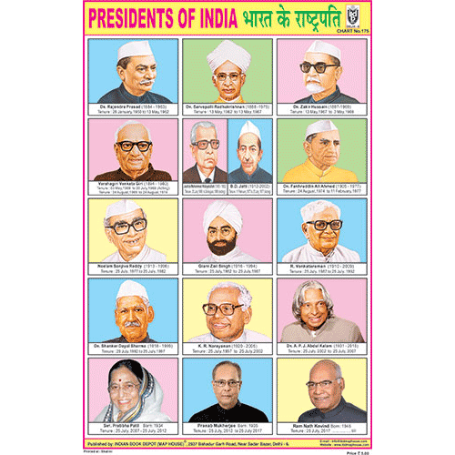 PRESIDENTS OF INDIA SIZE 24 X 36 CMS CHART NO. 175 - Indian Book Depot (Map House)