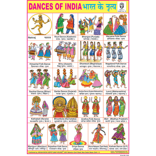 DANCES OF INDIA SIZE 24 X 36 CMS CHART NO. 19 - Indian Book Depot (Map House)