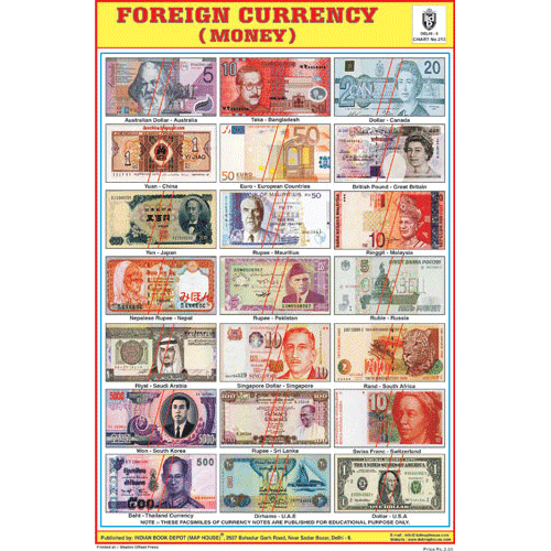 FOREIGN CURRENCY CHART SIZE 12X18 (INCHS) 300GSM ARTCARD - Indian Book Depot (Map House)