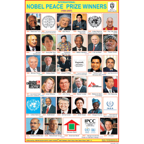 INTERNATIONAL NOBLE PEACE PRIZE WINNERES SIZE 24 X 36 CMS CHART NO. 216 - Indian Book Depot (Map House)