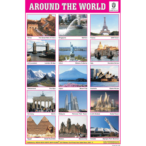 AROUND THE WORLD SIZE 24 X 36 CMS CHART NO. 217 - Indian Book Depot (Map House)